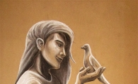 A painting of a girl talking to a carrier pigeon.