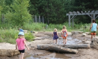Children walk in the water at Tamarack Nature Center.