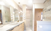 A bathroom remodeled by Bald Eagle Construction, voted Best Remodeler in the Best of White Bear Lake 2019 readers' choice survey.