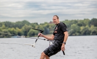 Mike Kratochwill, owner of Lakawa, kiteboards on White Bear Lake.
