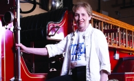 Mayor Jo Emerson with the vintage LaFrance fire truck she rides in the Manitou Days parade every year.