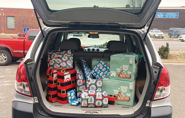 Donated car loaded with gifts