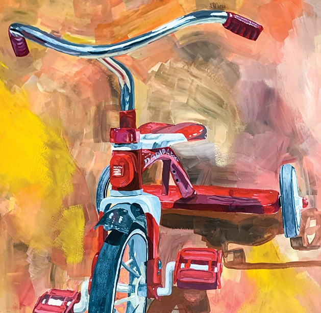 An impressionist gouache painting of a tricycle, painted by White Bear Lake Area High School student Lynn Fastner