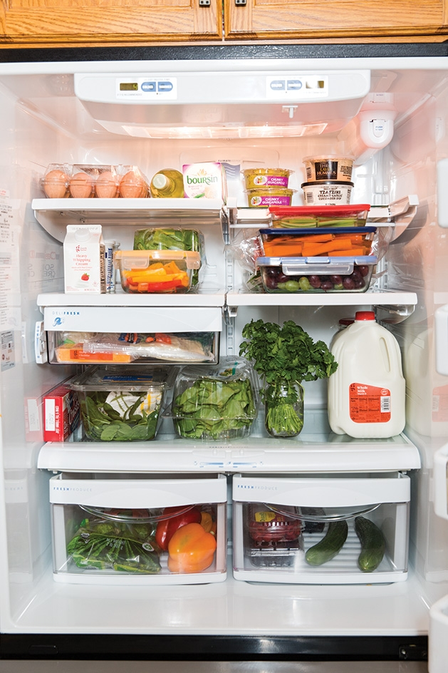 A fridge full of groceries