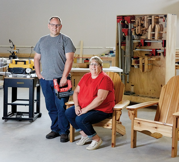 Tom and Theresa Lendway in their communal makerspace in White Bear Lake.