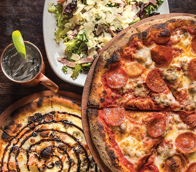Pizzas and other menu offerings from Pizzeria Pezzo in White Bear Lake