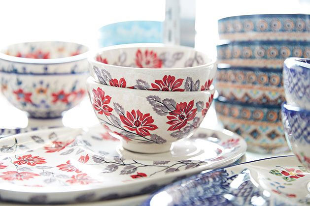 Bowls and plates from Blue Water Polish Pottery.