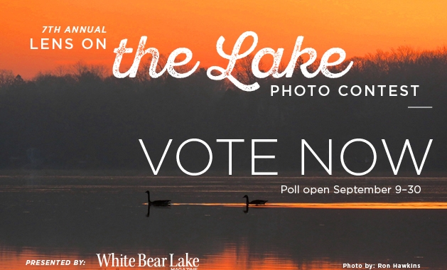 A graphic advertising voting for the 2019 Lens on the Lake photo contest