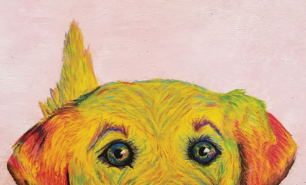 "A painting of a yellow lab, ""Murray,"" by White Bear Lake High School senior Anika Dahl"