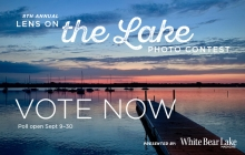 A graphic announcing voting for the 2020 Lens on the Lake photo contest.