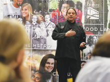 Lakota chef Sean Sherman, owner of catering service The Sioux Chef, speaks at Century College