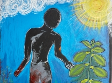A painting of a black and red figure touching a plant before a blue, sunny sky.