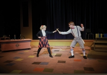 Georgia Reding and Dan Prather in costume for The 25th Annual Putnam Spelling Bee Musical at Century College