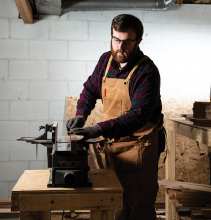 Frank Hinck of Walnut Street Woodworking works on a custom kitchen item.