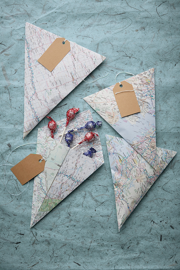 Gifts wrapped in old maps.