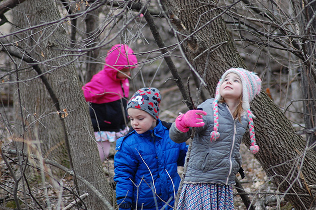 A group of kids explores the woods.